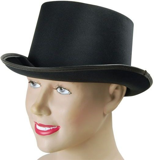 Top Hat. Black, Satin Look (1920S , Old English Fancy Dress Hats)