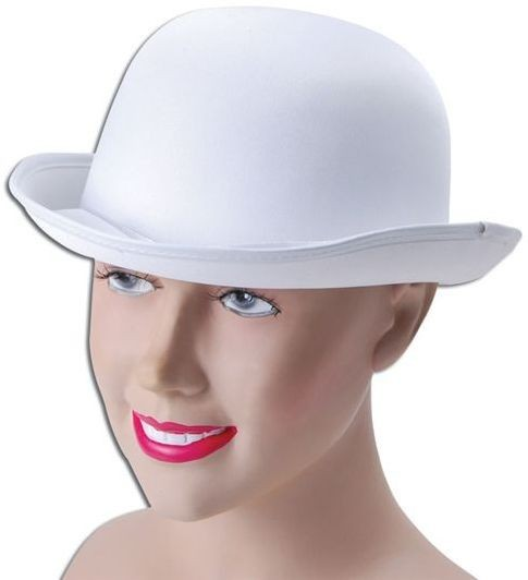 Bowler Hat. White, Satin Look (1920S Fancy Dress Hats)