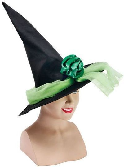 Witch Hat + Ribbon. Green (Halloween Hats)