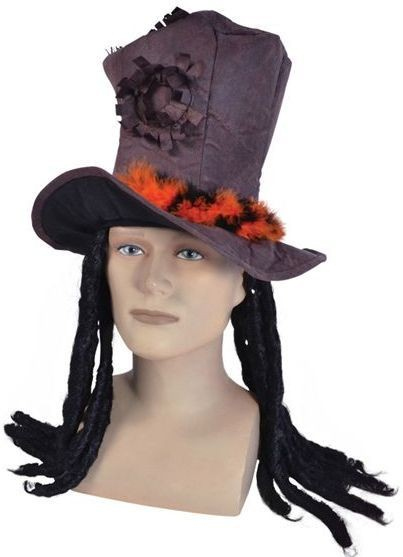 Brown Top Hat + Dreadlocks (Pirates Fancy Dress Hats)