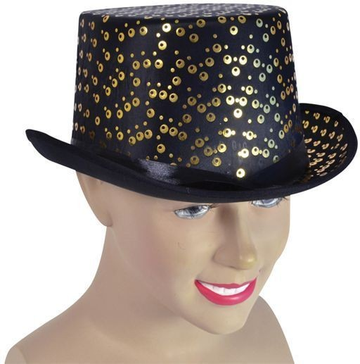 Top Hat. Black/Gold Pattern (1920S Fancy Dress Hats)