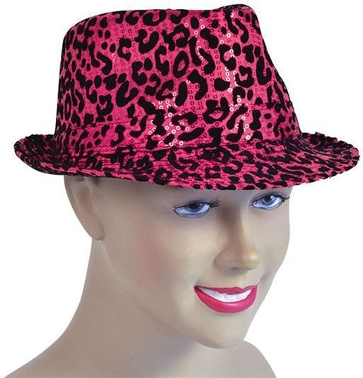Sequin Fancy Fedora. Black/Pink (1920S Fancy Dress Hats)