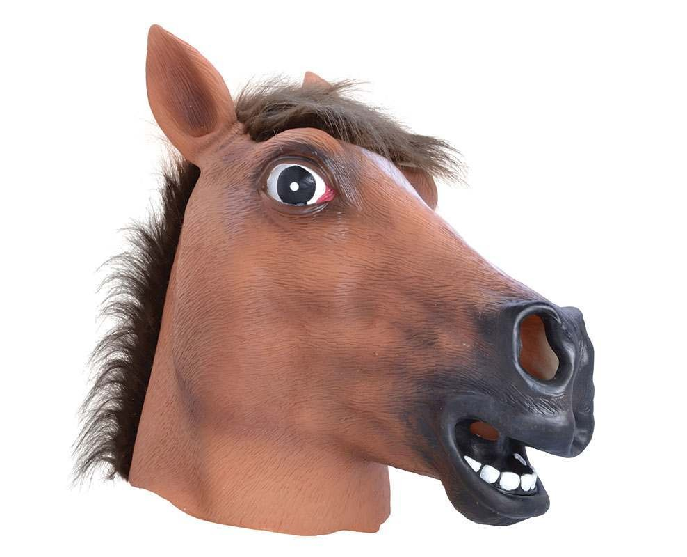 Horse. Light Brown Rubber Mask.