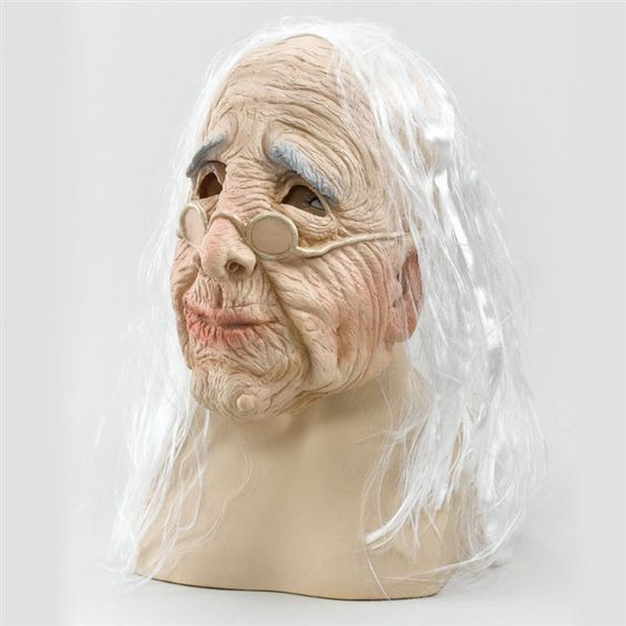 Old Woman Mask & Hair (Budget) (Halloween Masks)