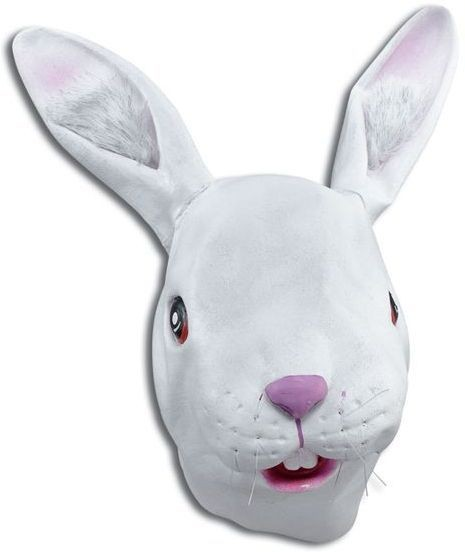 White Rabbit Rubber Overhead Mask (Animals Fancy Dress Masks)
