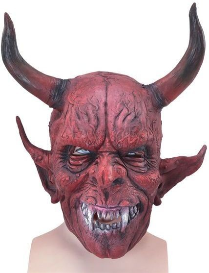 Devil Mask, Rubber & Big Horns (Halloween Masks)