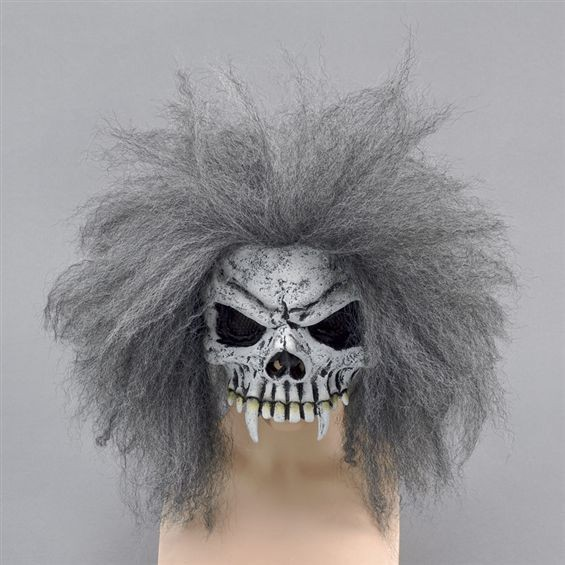 Skull Half Face Mask + Hair (Halloween Masks)