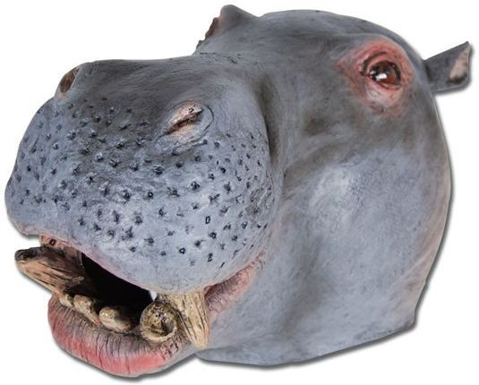 Hippo Rubber Overhead Mask (Animals Fancy Dress Masks)