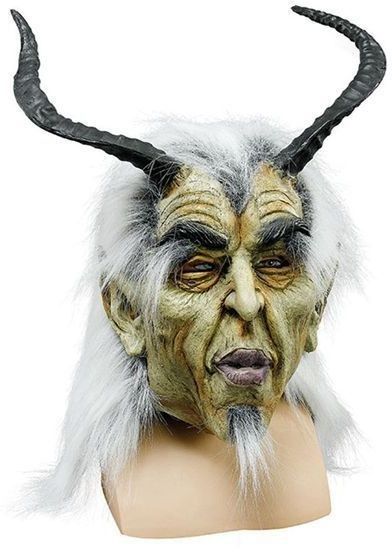 Aged Devil / Long Horns + Hair (Halloween Masks)