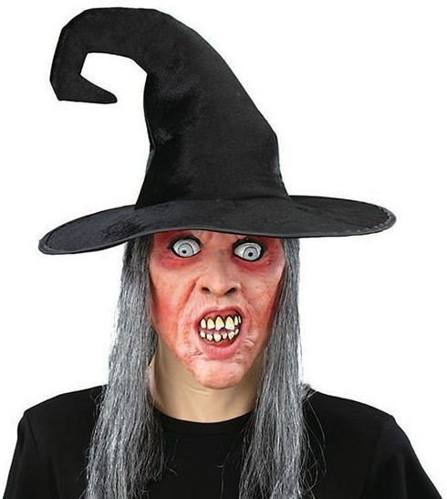 Witch Mask + Grey Hair (Halloween Masks)