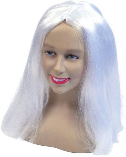 "Long 18"" Wig. White (Halloween Wigs)"