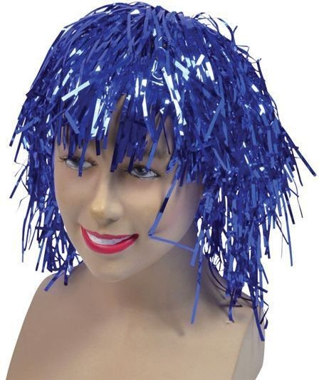 Tinsel Wig. Blue (1970S Fancy Dress Wigs)