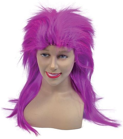 Punk Top Wig. Neon Purple (1970S , 1980S Fancy Dress Wigs)