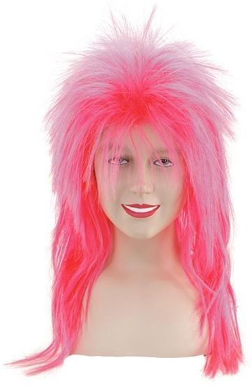 Punk Top Wig. Neon Pink (1970S , 1980S Fancy Dress Wigs)