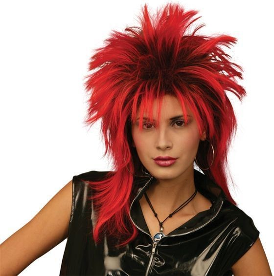 Tina Two Tone Wig. Red/Black (1970S , 1980S Fancy Dress Wigs)