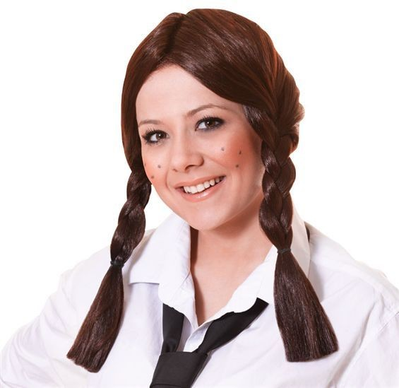 Schoolgirl Wig. Brown (School Fancy Dress Wigs)