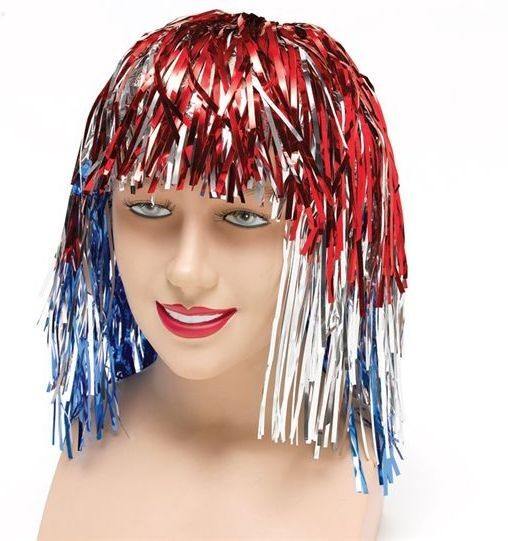 Tinsel Wig. Red/Silver/Blue (Cultures Fancy Dress Wigs)