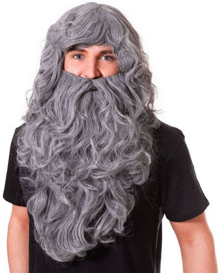 Wizard Wig & Beard Set.Grey Budget (Viking Fancy Dress Wigs)