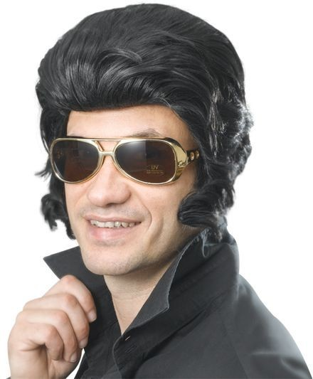 Elvis Wig & Big Sideburns (Music , 1950S Fancy Dress Wigs)