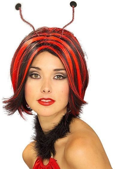 Ladybird Wig & Antennae (Animals Fancy Dress Wigs)