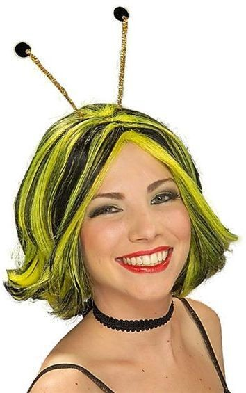 Bumble Bee Wig & Antennae (Animals Fancy Dress Wigs)