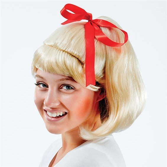 50'S High School Ponytail Wig. Blonde (School Fancy Dress Wigs)