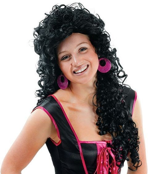 Ladies. Long Curls / Black (Fancy Dress Wigs)