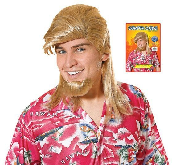 Surfer Dude + Goatee (Hawaiian Fancy Dress Wigs)