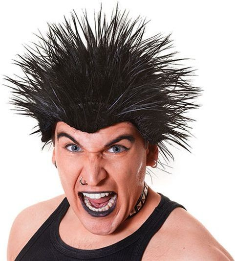 Spiked Wig. Black (1980S Fancy Dress Wigs)