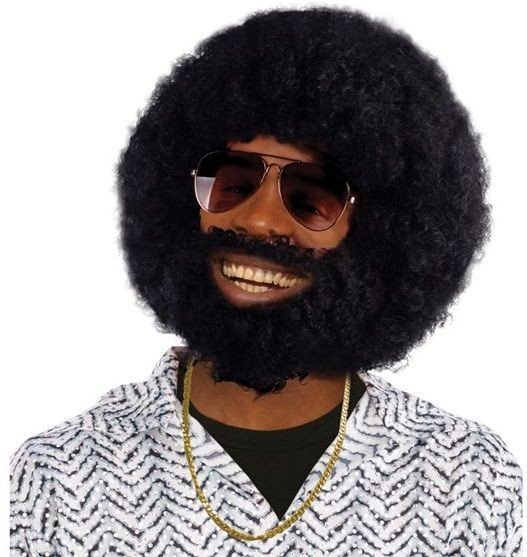 Afro + Facial Hair (1970S Fancy Dress Wigs)
