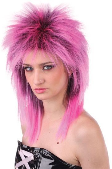 Female Rocker. Pink/Black (1980S Fancy Dress Wigs)