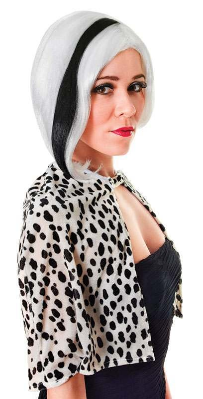 Glamour Diva. White With Black Streak Wig