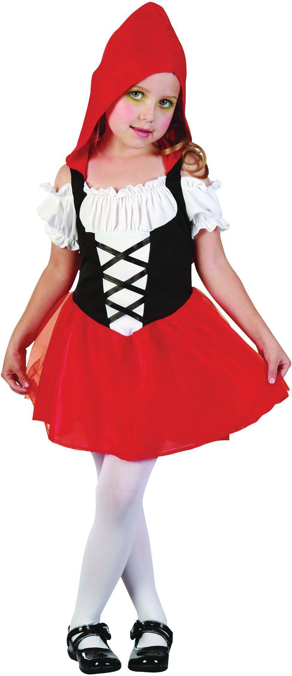 Girls Toddlers Black/Red/White Red Hood Sweetie Fancy Dress Costume