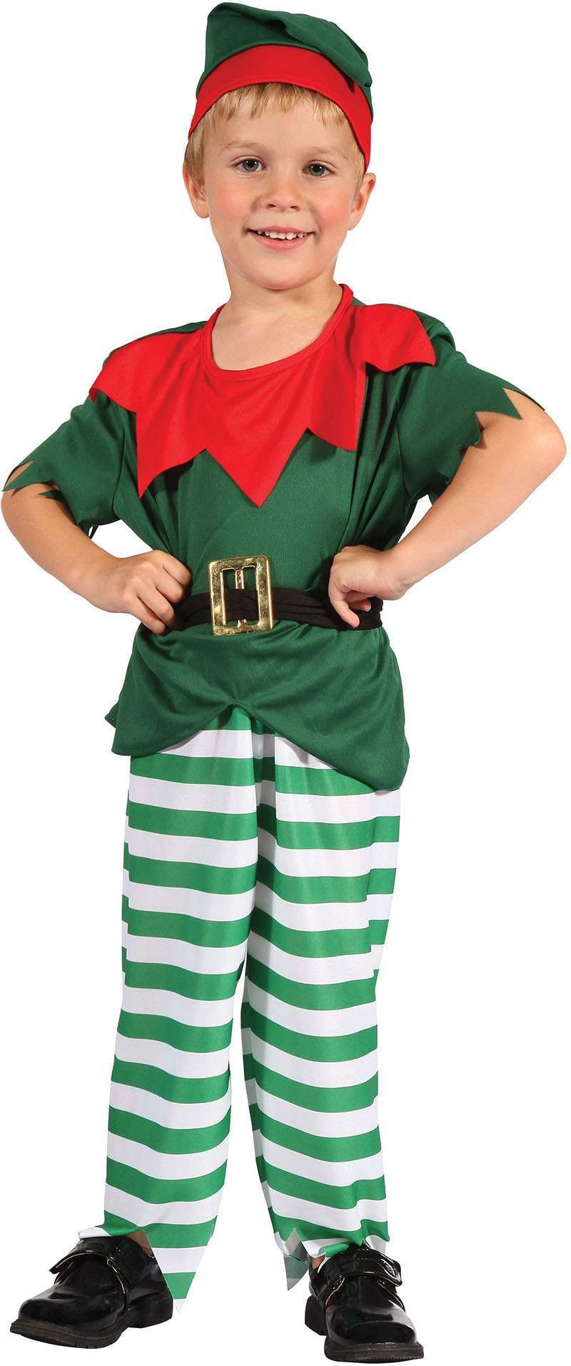 Boys Toddlers Red And Green Santas Helper Fancy Dress Costume