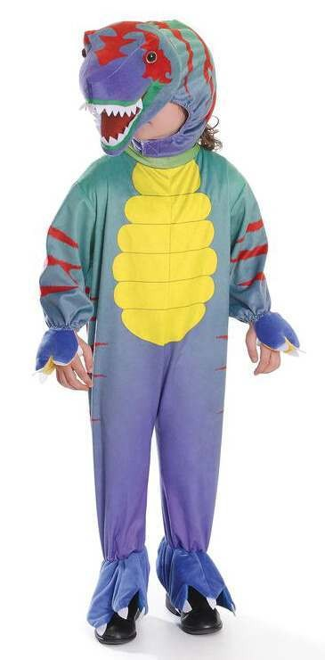 Childs Colourful Tyrannosaurus Jumpsuit With Head Fancy Dress Costume