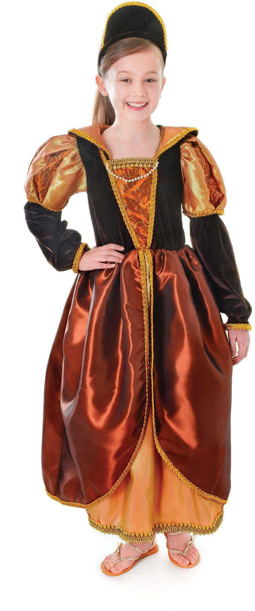 Girls Tudor Queen Bronze Fancy Dress Costume