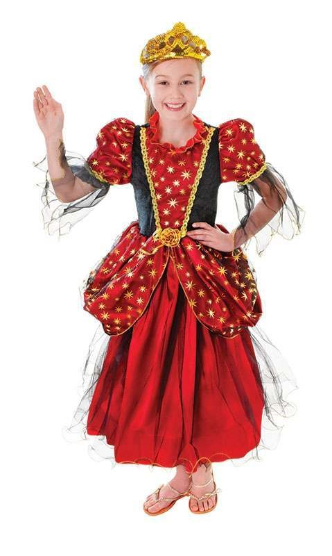 Girls Gold Star Princess Fancy Dress Costume
