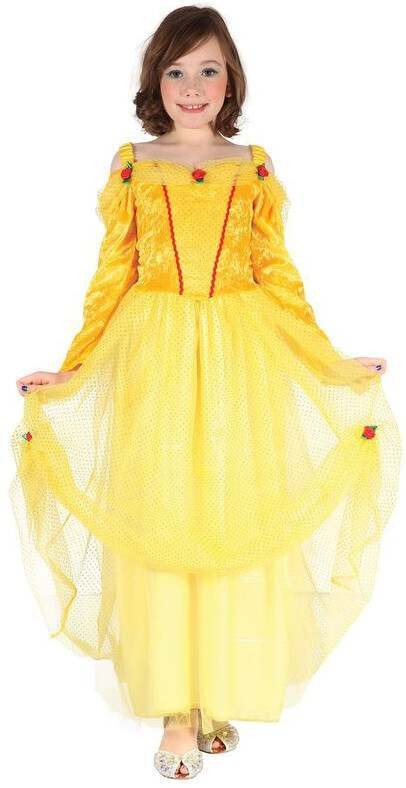 Girls Yellow Fairy Tale Princess Fancy Dress Costume