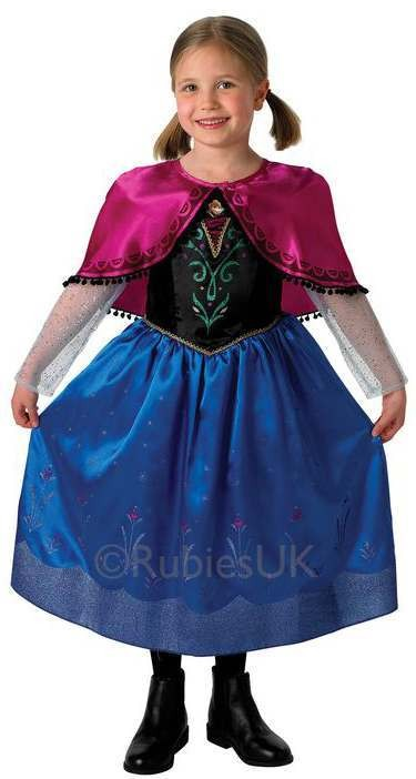 Girls Offical Disney Frozen Deluxe Anna Fancy Dress Costume