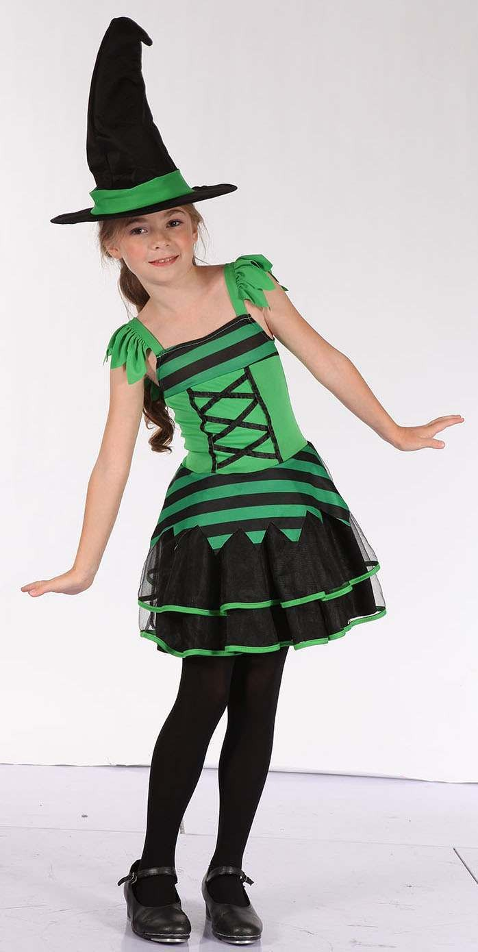 Girls Black/Green (Witch) Fancy Dress Costume