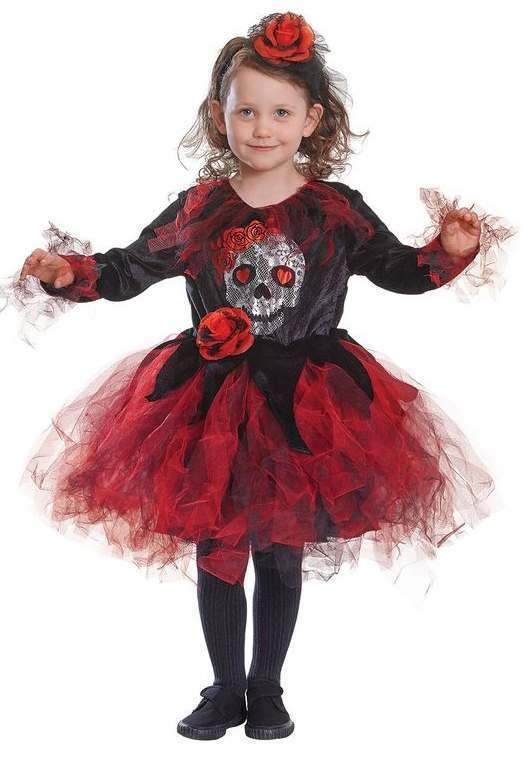 Girls Deluxe Red Skull Tutu Halloween Fancy Dress Costume