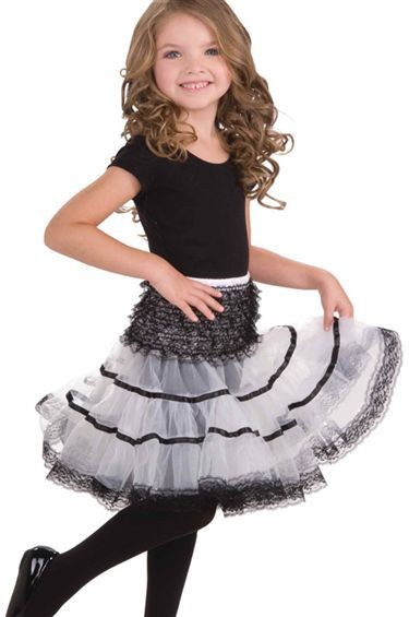 Crinoline Slip. White/Black (Fancy Dress)