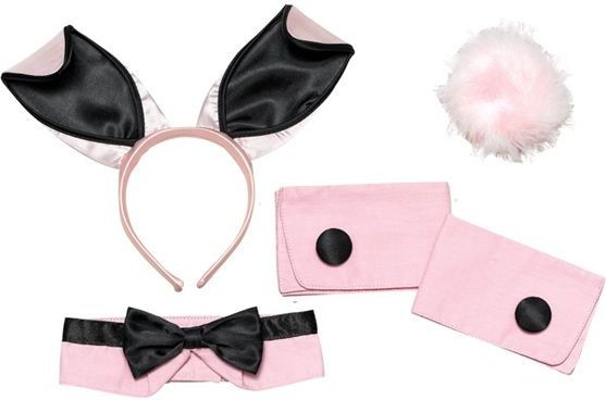 Bunny Girl Set. Pink/Black (Animals Fancy Dress Disguises)