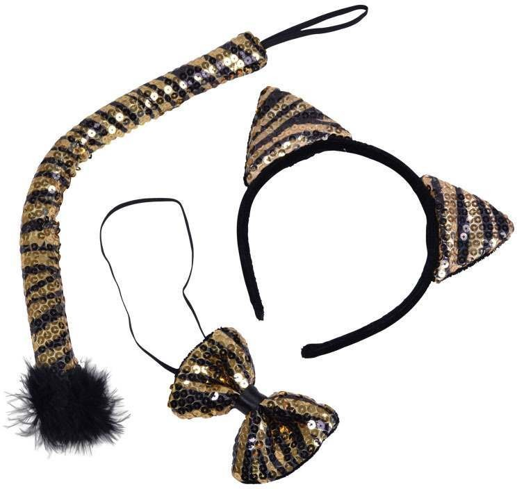 Tiger Set. Black/Gold Sequin (Animals Fancy Dress Disguises)