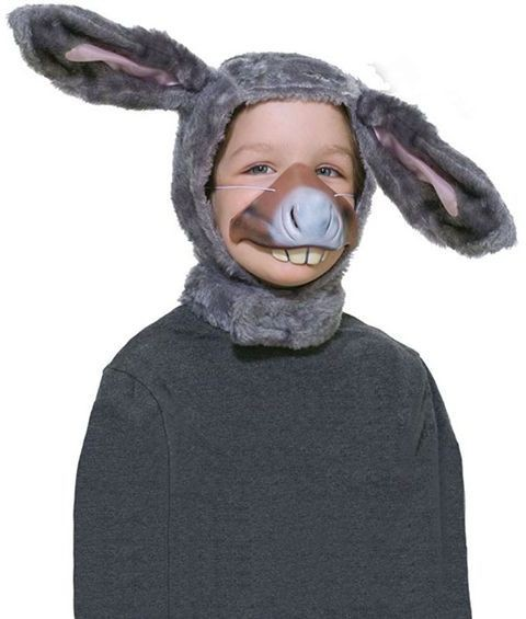Donkey Set. Childs (Hood + Nose) (Animals Fancy Dress Disguises)