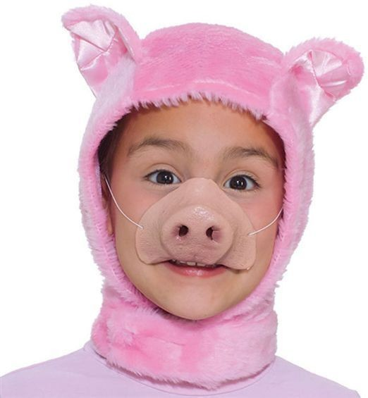 Piglet Set. Childs (Hood + Nose) (Animals Fancy Dress Disguises)