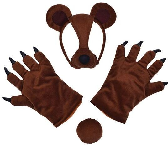 Bear Set (Mask, Tail + Paws) (Animals Fancy Dress Disguises)