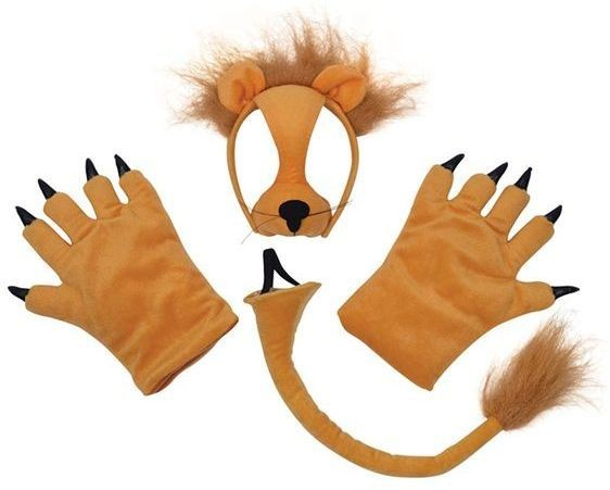 Lion Set (Mask, Tail + Paws) (Animals Fancy Dress Disguises)
