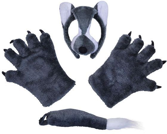 Wolf Set (Mask, Tail + Paws) (Animals Fancy Dress Disguises)