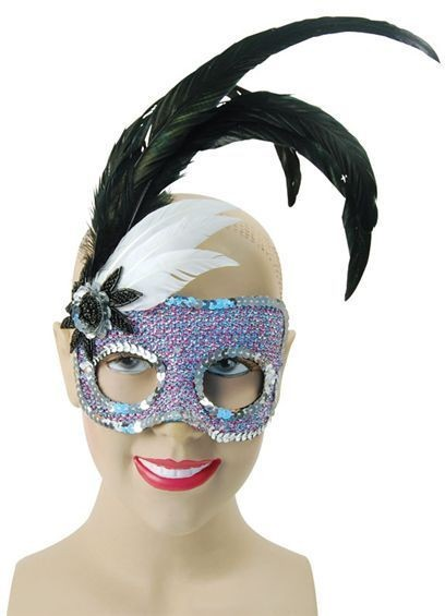 Black/Purple Face + Silver Sequins (Fancy Dress Eyemasks)